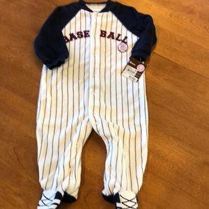 Baseball baby sleep and play footed bodysuit